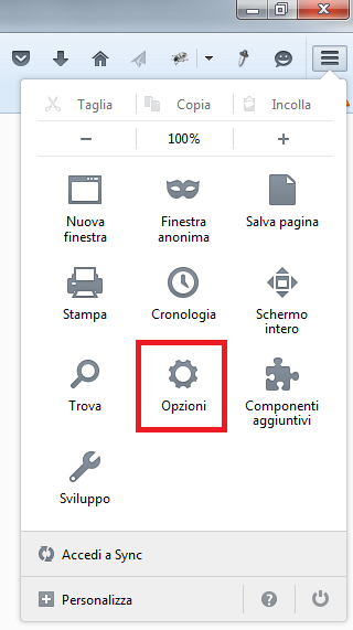 Pannello opzioni Firefox