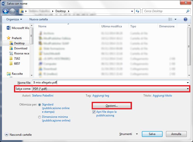 Come faccio a salvare un file in formato PDF/A?